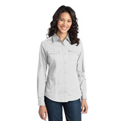 Ladies Stain Release Roll Sleeve Twill Shirt